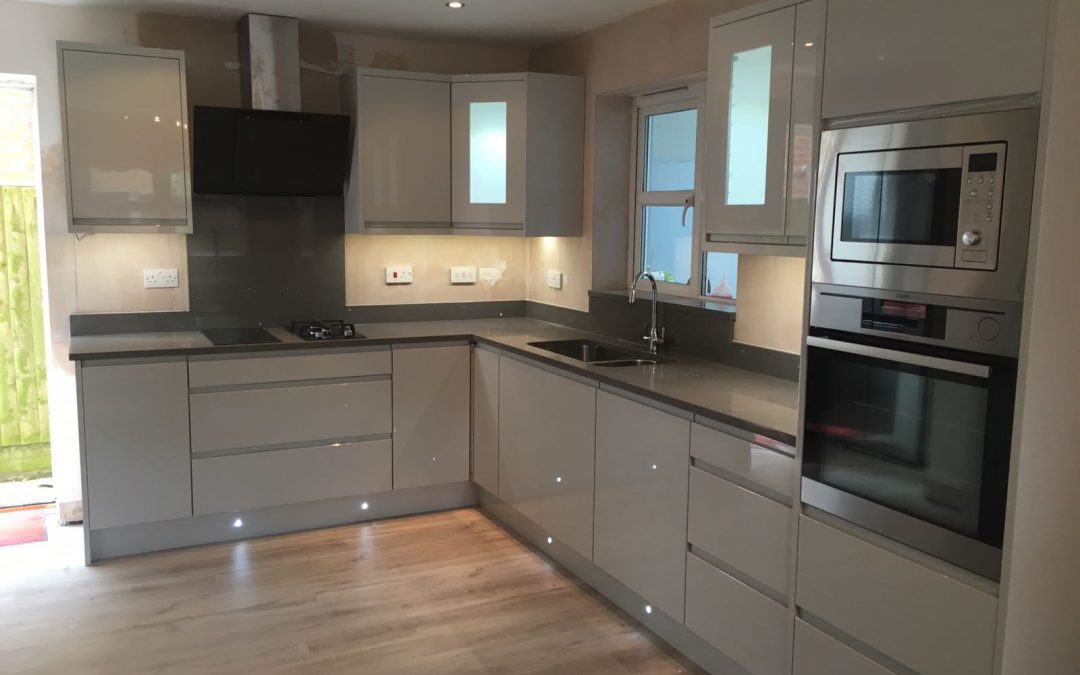 Grey Mirror Quartz worktops completed in St Helens