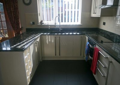 Sensa Indian Black worktops completed in Widnes