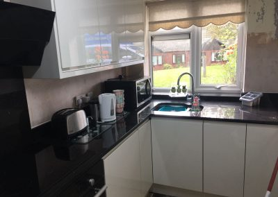 Black Mirror Quartz Worktops and were completed in Warrington